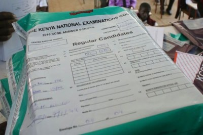 A pack of Kenya Certificate of Secondary School (KCSE) examination papers.