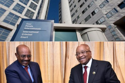 Top: International Criminal Court in the Hague. Bottom: President of Sudan Omar Al-Bashir, left, and South African President Jacob Zuma, right.