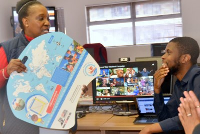 Thandeka Tutu-Gxashe, talking about the 'Tutu Desk' to the AllAfrica staff in Cape Town.