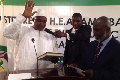 Adama Barrow takes oath of office as the new president of The Gambia