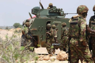 Kenya Defence Forces soldiers under the Africa Union Mission in Somalia in Kismayo on November 20, 2015.