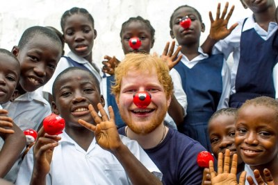 Ed Sheeran visits children living on the streets and in slums in Liberia to mark the return of Red Nose Day.