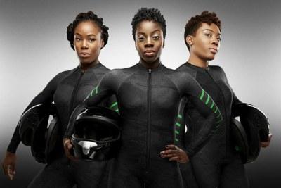 Nigeria's first bobsled team photographed by Obi Grant. From Left, Akuoma Omeoga, Seun Adigun (Centre), Ngozi Onwumere (Right)