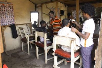 A makeshift barber shop in Kakuma camp (file photo)