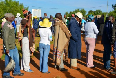 Maseru voters wait in line (file photo).