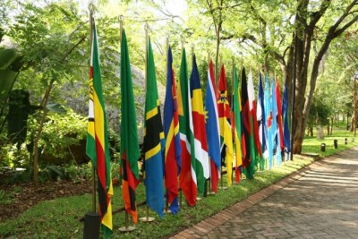 SADC countries flags.
