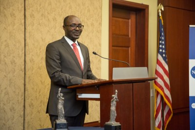 Angolan Journalist Rafael Marques accepting the National Endowment for Democracy's 2017 Democracy Award.