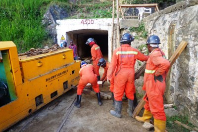 At work. Workers of Tibet Hima Mining Co. Ltd at Kilembe mines in Kasese District recently.