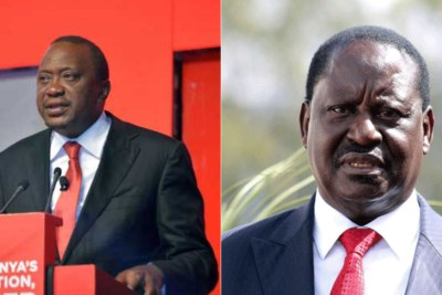 President Uhuru Kenya (left), National Super Alliance leader Raila Odinga,