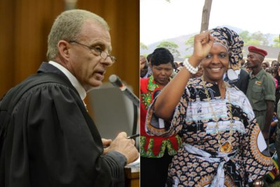 Advocate Gerrie Nel and Zimbabwean First Lady Grace Mugabe (file photo).