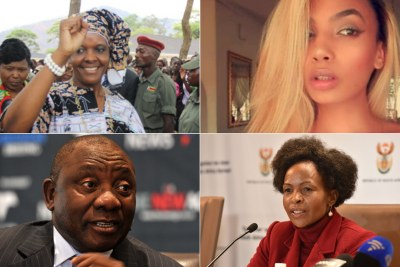 Top-left: Zimbabwean First Lady, Grace Mugabe. Top-right: Model Gabriella Engels. Bottom-left: Deputy President Cyril Ramaphosa. Bottom-right: Foreign Affairs Minister Maite Emily Nkoana-Mashabane.