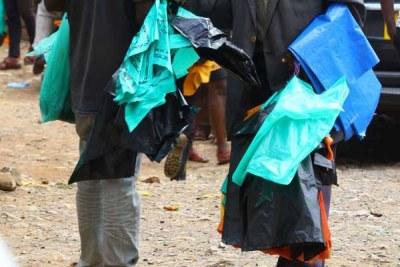 Plastic bags vendors in Kisii market  (file photo).