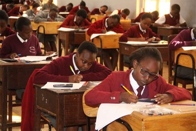 Students at Moi Girls High School tackle their mathematics exam during the Kenya Certificate of Secondary Education(file photo).