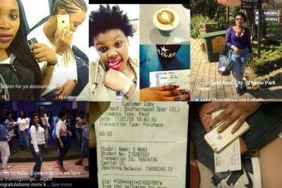 Collage of photos featuring Simbongile Mani and her purchases after she received R14,000,000 in her IntelliMali account from the National Student Financial Aid Scheme.