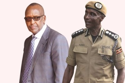 General Henry Tumukunde, minister for security, left,  and police inspector general Kale Kayihura.