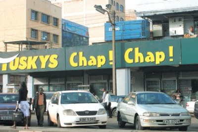 Tuskys Supermarket outlet on Muindi Bingu Street in Nairobi.