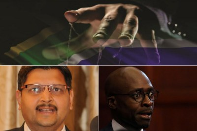 Top: Title image of former public protector Thuli Madonsela's state capture report. Bottom-left: Atul Gupta. Bottom-right: Finance Minister Malusi Gigaba.