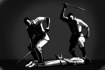 Caricature - Détention militaire illégale et torture