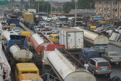 The gridlock is being caused by container trucks and tankers operating around the port.