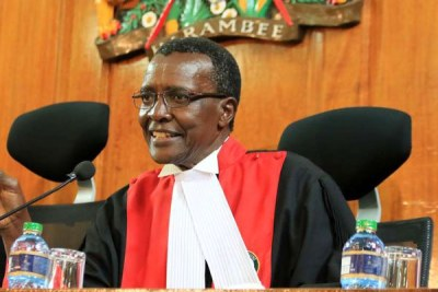 Chief Justice David Maraga speaks at the Supreme Court (file photo).