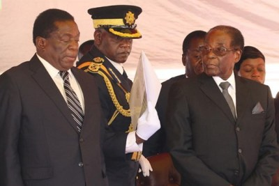 President Emmerson Mnangagwa (left) and former president Robert Mugabe (file photo).