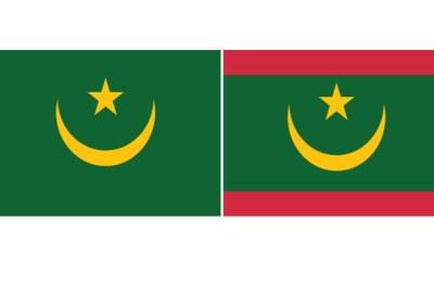A gauche l'ancien drapeau de la Mauritanie , à droite le nouveau drapeau