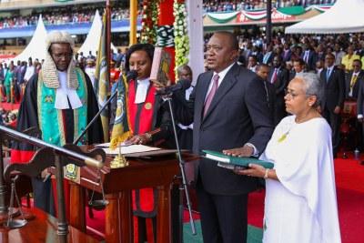 President Uhuru Kenyatta as he takes the oath of office.