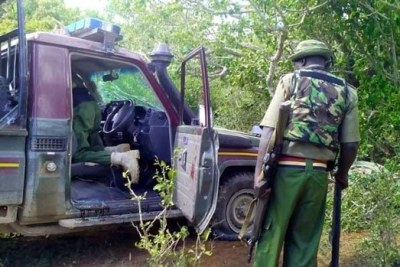 A police escort vehicle which was attacked by suspected Al-Shabaab militants at Nyongoro (file photo).