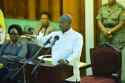 President Yoweri Museveni addressing East African Legislative Assembly legislators on January 23, 2018.