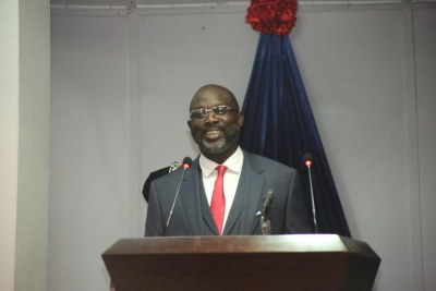 President George Weah during his first State of the Nation address.
