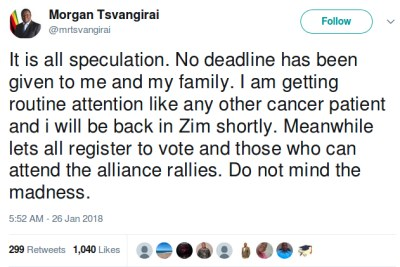 Morgan Tsvangirai rejects reports he has three months to live.
