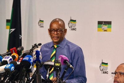 ANC Secretary-General Ace Magashule at the press conference in which he confirmed that President Jacob Zuma had been recalled.