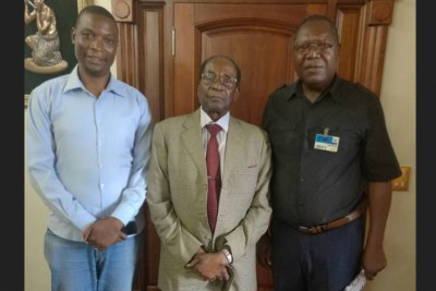 From left, National Patriotic Front (NPF) Spokesperson Jealousy Mawarire, former president Robert Mugabe and NPF President Ambrose Mutinhiri.