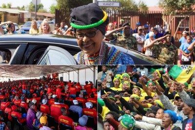 Top: Winnie Madikizela-Mandela. Bottom-left: Economic Freedom Fighters supporters at the party's memorial for the late struggle icon. Bottom-right: African National Congress supporters at the official memorial service held at the Orlando Stadium in Sotweto, Johannesburg.