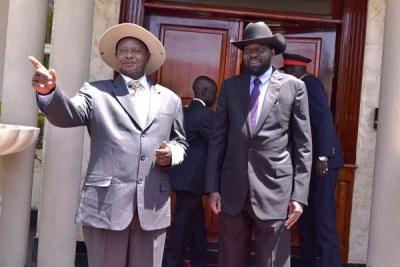 Ugandan President Yoweri Museveni with his South Sudan counterpart Salva Kiir