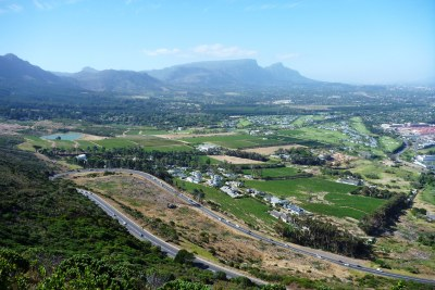 A view of Steenberg wine farm, Pollsmoor Prison, Constantia and the back of Table Mountain, taken from Ou Kaapse Weg.