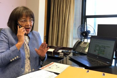 Mayor of Cape Town Patricia de Lille at work after a court ruling in her favour.