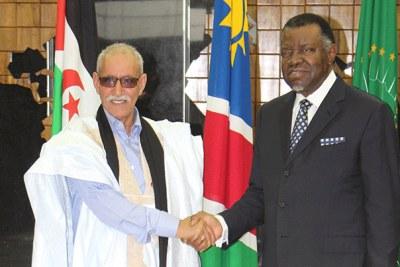 President of the Sahrawi Arab Democratic Republic Brahim Ghali (L) and President Hage Geingob.