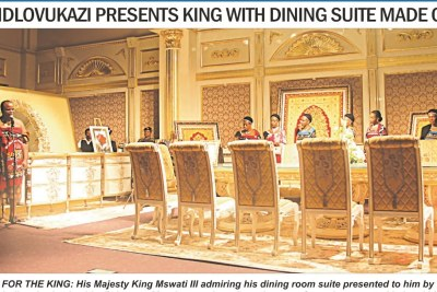 The lounge suite made of gold that was presented to King Mswati by his mother.