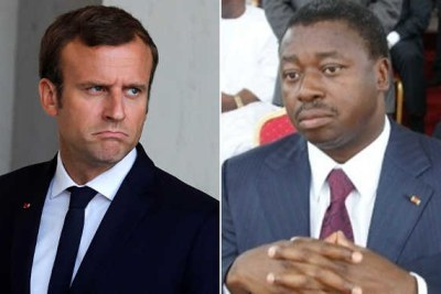 President Emmanuel Macron and President of Togo Faure Gnassingbé .