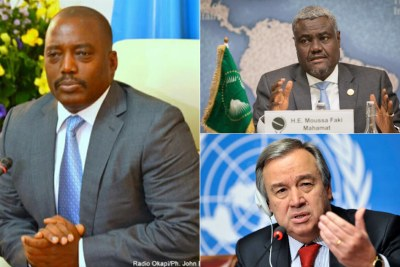 President Kabila UN Secretary General António Guterres and the African Union Chair Moussa Faki.