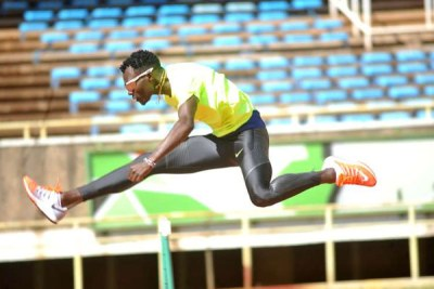 World 400 metres hurdles champion Nicholas Bett trains at Kasarani on January 24, 2017.
