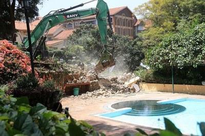 Demolitions of properties built on riparian land in Nairobi.