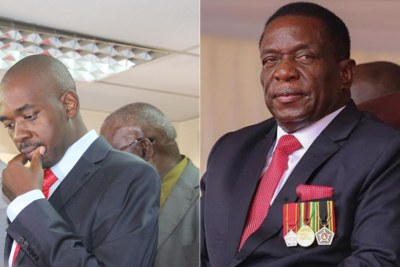 (Left) Nelson Chamisa and Emmerson Mnangagwa.