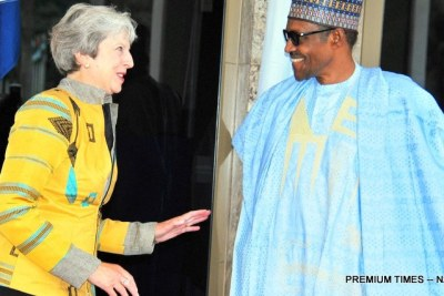 President Muhammadu Buhari welcoming the visiting British Prime Minister, Theresa May at the Presidential Villa in Abuja on Wednesday.