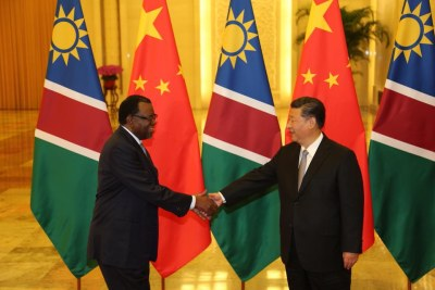 President Hage Geingob of Namibia with Chinese President Xi Jinping following their bilateral meeting during the Forum on China–Africa Cooperation in Beijing.