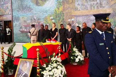 Kofi Annan's family gather for his state funeral in Accra.