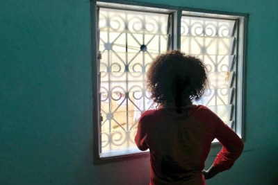 A young woman who was raped in 2016 on account of being a lesbian pictured in Douala, Cameroon on August 29, 2018.