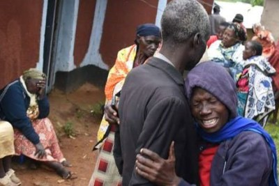 Family and friends mourn the death of five victims of the Fort Ternan crash in Muluanda, Kakamega County on October 11.