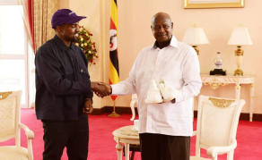 Kanye West Gives Museveni Yeezy Sneakers